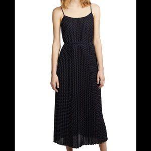 Vince Navy Polka Dot Pleated Midi Cami Dress